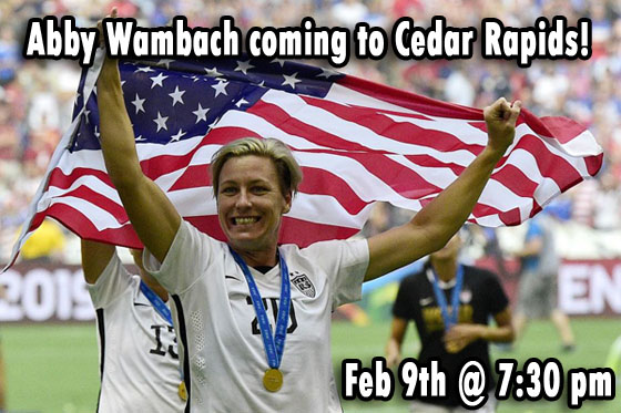 Abby Wambach is coming to Cedar Rapids!